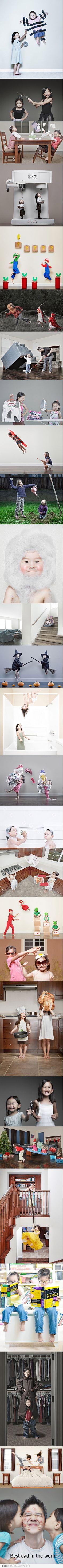 idée pour la fête des pères, le meilleur papa du monde, idée photos famille