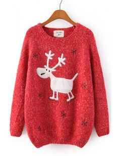 Deer Sticking Cloth Casual Cotton Knit Sweaters Holiday Sweater bde5d98ca