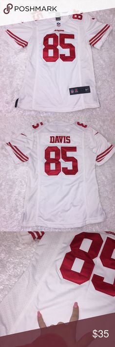 "49ers Davis Jersey Size mens XS, great condition, a couple of blemishes noted on front. Red and white. Armpit: 17"". Length: 24"". Feel free to ask any questions, no trades/model photos sorry. Offers thru offer button only! Items ship same day M-F if purchased before 2pm PST! :) Nike Shirts Tank Tops"