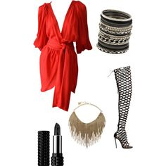 A fashion look from December 2014 featuring Yves Saint Laurent dresses, Dsquared2 boots and BCBGMAXAZRIA necklaces. Browse and shop related looks.