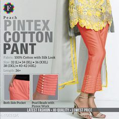 Trousers & Pants Trendy Cotton Women's Pant  *Fabric* Cotton  *Size* L - 32 in, XL - 34 in, XXL -36 in, 3XL - 38 in, 4XL - Up To 40 in To 42 in  *Length* Up To 36 in  *Type* Stitched  *Description* It Has 1 Piece Of Women's Pant  *Work* Beads Work  *Sizes Available* L, XL, XXL, XXXL, 4XL *    Catalog Name: Jivika Pretty Cotton Women's Pants CatalogID_129835 C79-SC1034 Code: 574-1063126-
