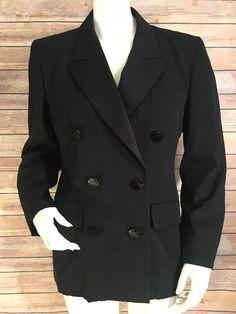 Yves Saint Laurent Rive Gauche Womens Sz 36 Vintage Wool Jacket Blazer Black A3  | eBay