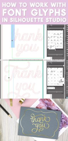 learn how to use the glyphs panel in the silhouette studio software. You can create beautiful custom lettered designs by easily accessing all of the glyphs available with your fonts - video tutorial Silhouette Fonts, Silhouette Cameo Projects, Silhouette Design, Silhouette Studio, Bee Crafts, Vinyl Crafts, Cool Fonts, New Fonts, Free Font Websites