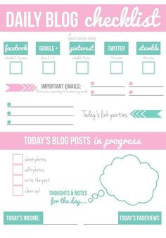 Daily Blog Checklist | Keep on top of your blog and social media with this awesome free checklist.
