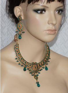 Green polki stone necklace set