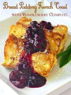Bread Pudding French Toast with Mixed Berry Compote - make the simple, easy bread pudding in loaf pans a day or two ahead and then simply fry slices in butter to golden brown and serve with your favourite berry sauce. This recipe would make a wonderful Christmas Day breakfast!