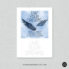 live your dreams cards and prints by scribbleandtweak on Etsy