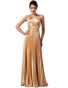 Women's One Shoulder Stretch Satin Maxi Evening Gowns-Gold
