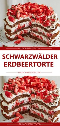 Schwarzwälder Erdbeertorte Black Forest cake was yesterday. Here comes the lactose-free relaunch wit Easy Cake Recipes, Snack Recipes, Smoothie Recipes, Smoothies, Cake Vegan, Chocolate Cake Recipe Easy, Pumpkin Spice Cupcakes, Healthy Crockpot Recipes, Food Cakes
