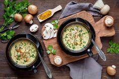 Mushroom soup with curry – just delicious - All Recipes Pork Chop Recipes, New Recipes, Chicken Recipes, Favorite Recipes, Gestational Diabetes Recipes, Curry, Mushroom Soup, Mushroom Recipes, Food Combining