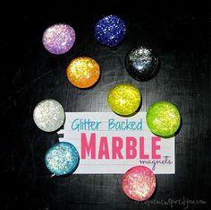 Glitter Backed Marble Magnets - CreativeMeInspiredYou.com