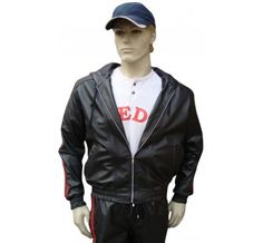#Leather_Tracksuit in 2 #Red_Stripes Track Suit Jacket with Hood and Lace (can be made without hood with normal collar or Mandarin collar or No collar at all). Jacket comes with 2 outside and 2 inside pocket. Full Front zip in silver (can be made in Brass, Black or White).