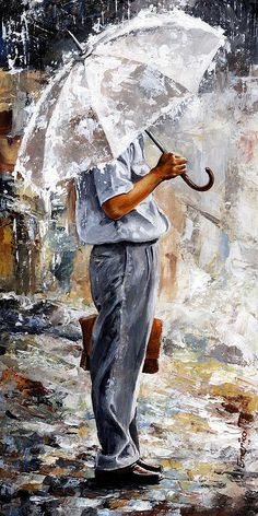 Rain Day - The Office Man Painting by Emerico Toth - Rain Day - The ...