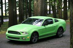 "Ford Mustang 2013 in ""Gotta Have It Green"" Loooovvve it <3"