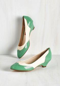 Sweet Spectator Heel in Jade by Bait Footwear - Green, White, Solid, Vintage Inspired, 40s, Spring, Summer, Low, Variation