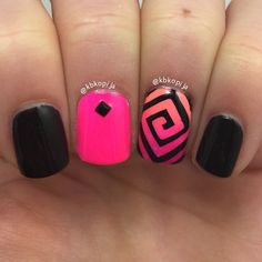 Square Spiral Nails I used Square Swirl Vinyls from @SnailVinyls #snailvinyls Black stud is from @lightinthebox Polishes: CG Flip Flop Fantasy CG Purple Panic Orly Beach Cruiser Sally Hansen Black Out...