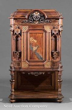 Furniture: Cabinet; Victorian, Renaissance Revival, Rosewood, Domed Top, 2  Arched