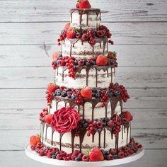 Magical wedding cake inspiration Naked Cake wedding cake with chocolate - Magical wedding cake inspiration Naked Cake wedding cake with chocolate drip and lots of fresh ber - Wedding Night, Wedding Ceremony, Our Wedding, Dream Wedding, Magical Wedding, Wedding Quotes, Wedding Rings, Cake Trends 2018, Naked Cakes
