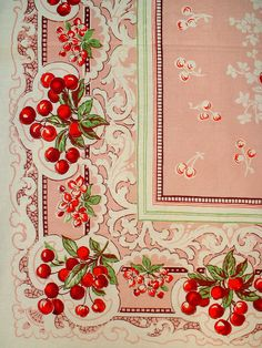 Vintage cherry tablecloth.