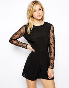 Playsuit with Embellished Sleeve