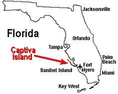 Florida Map: Captiva Island and Sanibel are near Ft. Myers Beach, Naples, Sarasota, Tampa, St. Petersburg, Key West, Orlando, Miami and Palm Beach
