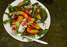 Nectarine and Blue Cheese Salad with Plum Vinaigrette: Recipe: bonappetit.com