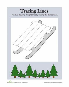 Slide right into early drawing and fine motor skills practice with this worksheet. Have your preschool artist trace over the lines to draw a snow sled. Free Printable Worksheets, Preschool Worksheets, Preschool Activities, Preschool Readiness, Seasons Worksheets, Free Printables, Christmas Activities For Toddlers, Winter Crafts For Toddlers, Winter Activities