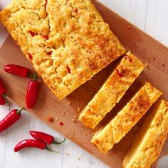 This Cheddar Cornbread with Chile Jam recipe is perfect for brunch. Each slice of cornbread is lightly grilled before topping with chile jam Jam Recipes, Brunch Recipes, Healthy Recipes, Slice Of Bread, Chocolate Flavors, Cheddar, Cornbread, Stuffed Peppers, Breakfast