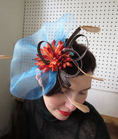 Blue veil fascinator Night Kiss Wedding Prom by FascinatorsFirst, $34.00
