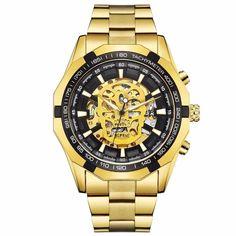 Luxury Men Golden Skull Skeleton Mechanical Automatic Self Wind Watch Sport Watches, Watches For Men, Skeleton Watches, Modern Man, Fashion Watches, Gold Watch, Luxury, Accessories, Steampunk Design