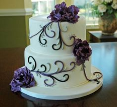 Modern Romantic Black Purple Silver White Country Club Country Fall Flowers Fondant Garden Historic Site Round Vineyard Wedding Cake Wedding Cakes Photos & Pictures - WeddingWire.com