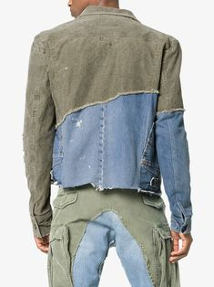745609fe25ced Greg Lauren denim panel distressed cotton jacket  2
