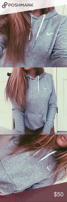 Heather Gray Nike Hoodie Super cute and tumblr Nike hoodie. Heather grey color. In excellent condition! Worn a couple of times. Super comfy! Tag reads size large, definitely fits more like a small or medium. Nike Tops Sweatshirts & Hoodies