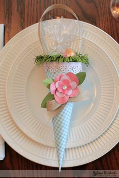 Easter treat cones created by @Juliana Michaels using @Pebbles Inc. papers #Easter #craft