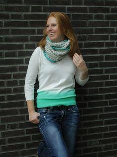 Crochet bobble stitch infinity scarf