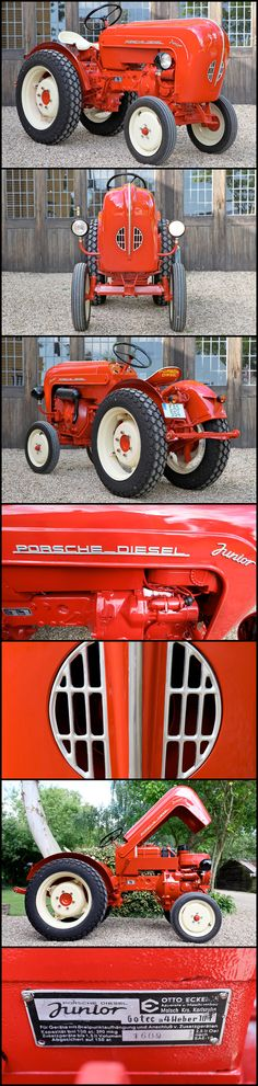 Porsche. Tractor. Awesome. 1958 Porsche Diesel Junior 108S Tractor   This Porsche Tractor was produced by the manufacturer, Allagaier at Freidrichshafen and first registered in April 1959 in Landau, Germany in the Mosel wine region. The tractor retains its original Kraftfahrzeubrief (title) recording all ownership changes between vineyards in this area.