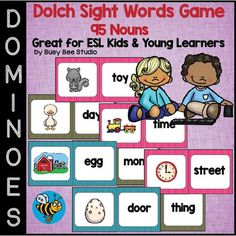 Dolch Sight Words Dominoes Game (95 nouns)