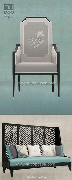 新中式家具 - 工笔线描荷花主题餐椅/单椅 上海新波普-原创品牌,产地上海。订购请联系官方网站www.nupopcasa.com