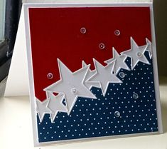 Stars for Brenda by hskelly - Cards and Paper Crafts at Splitcoaststampers 4th Of July Fireworks, July 4th, Holiday Cards, Christmas Cards, Christmas Tree, American Card, Military Cards, Diy Cards, Men's Cards