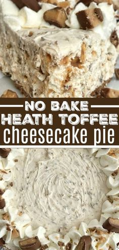 Toffee Cheesecake Pie is a cool and creamy no bake pie. Toffee cheesecake pie has a creamy cheesecake filling, and Heath candy bar pieces all inside an easy store-bought chocolate graham cracker crust. You will love how fast & easy it is to make. Desserts Nutella, Köstliche Desserts, Delicious Desserts, Yummy Food, Cool Whip Desserts, Chocolate Desserts, Easy No Bake Desserts, Holiday Desserts, Desserts For Summer