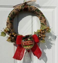 Primitive Christmas Wreath, Burlap Christmas Wreath, Country Christmas Wreath, Wrapped Christmas Wreath, Burlap Wrapped Christmas Wreath - pinned by pin4etsy.com