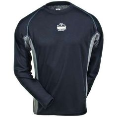 Ergodyne Shirts: Men's 6425 BLK Black Loose Fit All Season Long Sleeve Shirt