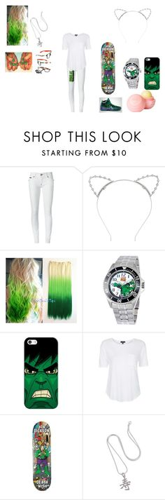 """""""Incredible She-Hulk"""" by theultrafighter ❤ liked on Polyvore featuring Philipp Plein, Lipsy, Disney, Casetify, Topshop, Deathwish, Freaker, NOVICA and dELiA*s"""