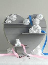 thème ourson blanc: dragées baptême-fille/garçon