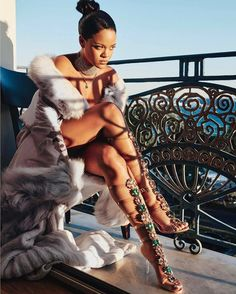 "Rihanna and that #manoloblahnik collabo  @badgalriri x @manoloblahnikhq  Pictured above: ""Poison Ivy""  #rihanna #barbados #ootd"