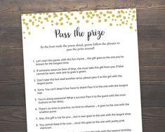 Pass the Prize Bridal Shower Games Pass the Parcel Game Gold Confetti Gold Bridal Shower Rhyme Game Parcel Game Pass The Parcel Game, Game Pass, Wedding Shower Games, Baby Shower Games, Wedding Games, Shower Party, Best Bridal Shower Games, Gold Bridal Showers, Bridal Shower Gifts