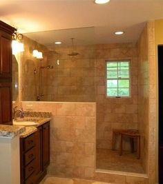 Superb Walk in shower remodeling built ins tricks,Master shower remodeling interior design and Tub shower remodel on a budget. Half Wall Shower, Bathroom Shower Doors, Master Shower, Bathroom Renos, Bathroom Renovations, Master Bathroom, Bath Shower, Shower Niche, Frameless Shower