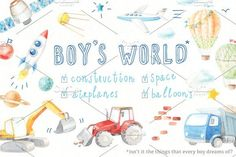 watercolor BOY'S WORLD by artnLera on @creativemarket