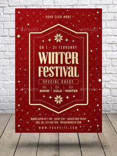 Winter Festival Flyer Template Vector EPS, AI Illustrator