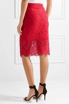 Diane von Furstenberg - Glimmer Corded Lace Pencil Skirt - Red - US12